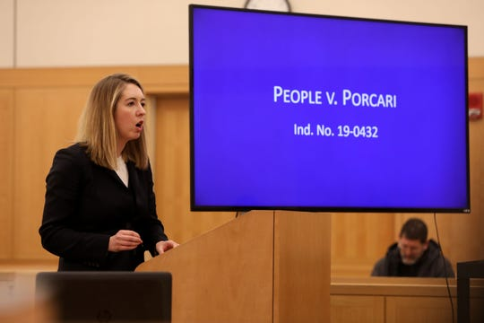 Assistant Attorney General Megan Powers delivers her closing argument in the corruption trial of Lawrence Porcari, the former Mount Vernon city lawyer, Dec. 11, 2019 at Westchester County Court.