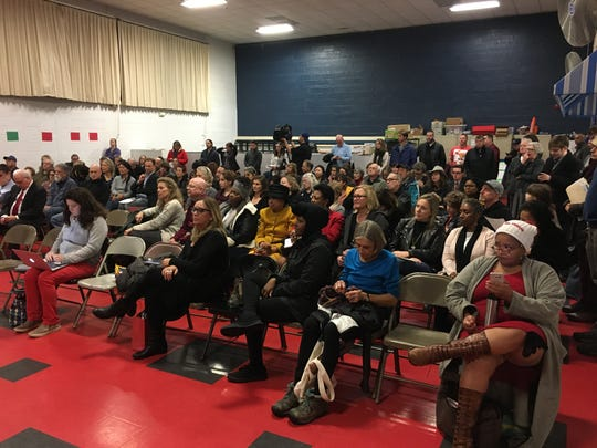 Residents attending Nyack School Board meeting at Upper Nyack Elementary School where board voted to lease Midland Avenue ball field to Nyack Hospital for a parking lot