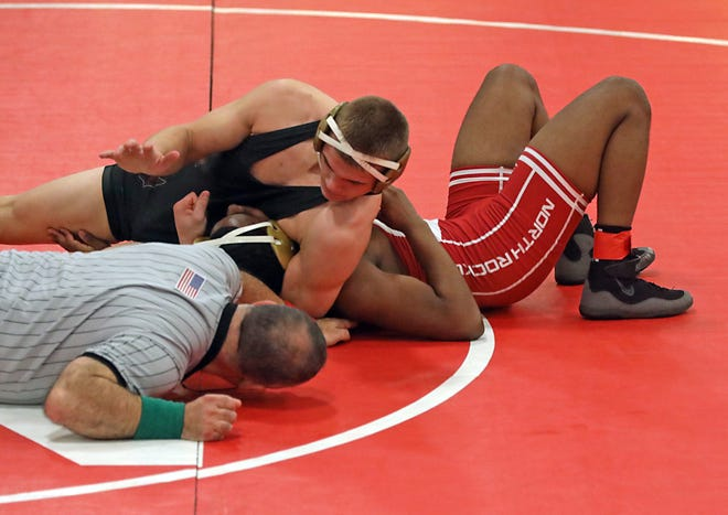 Arlington's Thomas Armstrong defeats North Rockland's Amari Fontanez in the 160 pound wrestling match at North Rockland High School in Thiells Dec. 10, 2019.