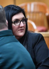 Heather Barbieri of Plano, shown here Wednesday in 78th District Court, is the lead defense attorney for convicted sex offender Jason Wayne Carlile.