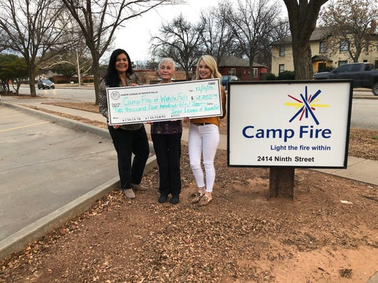 Camp Fire North Texas is grateful for The Junior League of Wichita Falls for their generosity. Executive Director Bettye Ricks (center) accepted this grant donation last week with Junior League members Debbie Anderson (left) and Nikki Garcia (right).