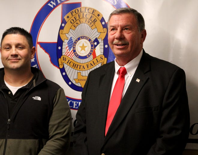 Wichita County Precinct 2 Commissioner Lee Harvey announces his run for the 13th Congressional District seat at the Wichita Falls Police Officers Association as shown in this Dec. 10, 2019, file photo.