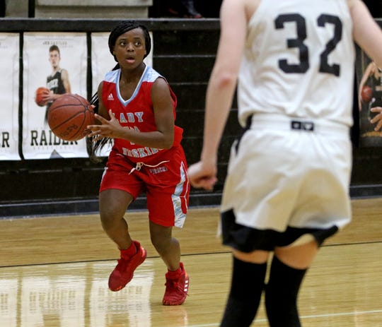 Hirschi's Traysha Newsome dribbles in the game against Rider Tuesday, Dec. 10, 2019, at Rider.