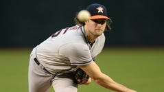 Starting pitcher Gerrit Cole had a 2.50 ERA and 326 strikeouts in the regular season for the Houston Astros.