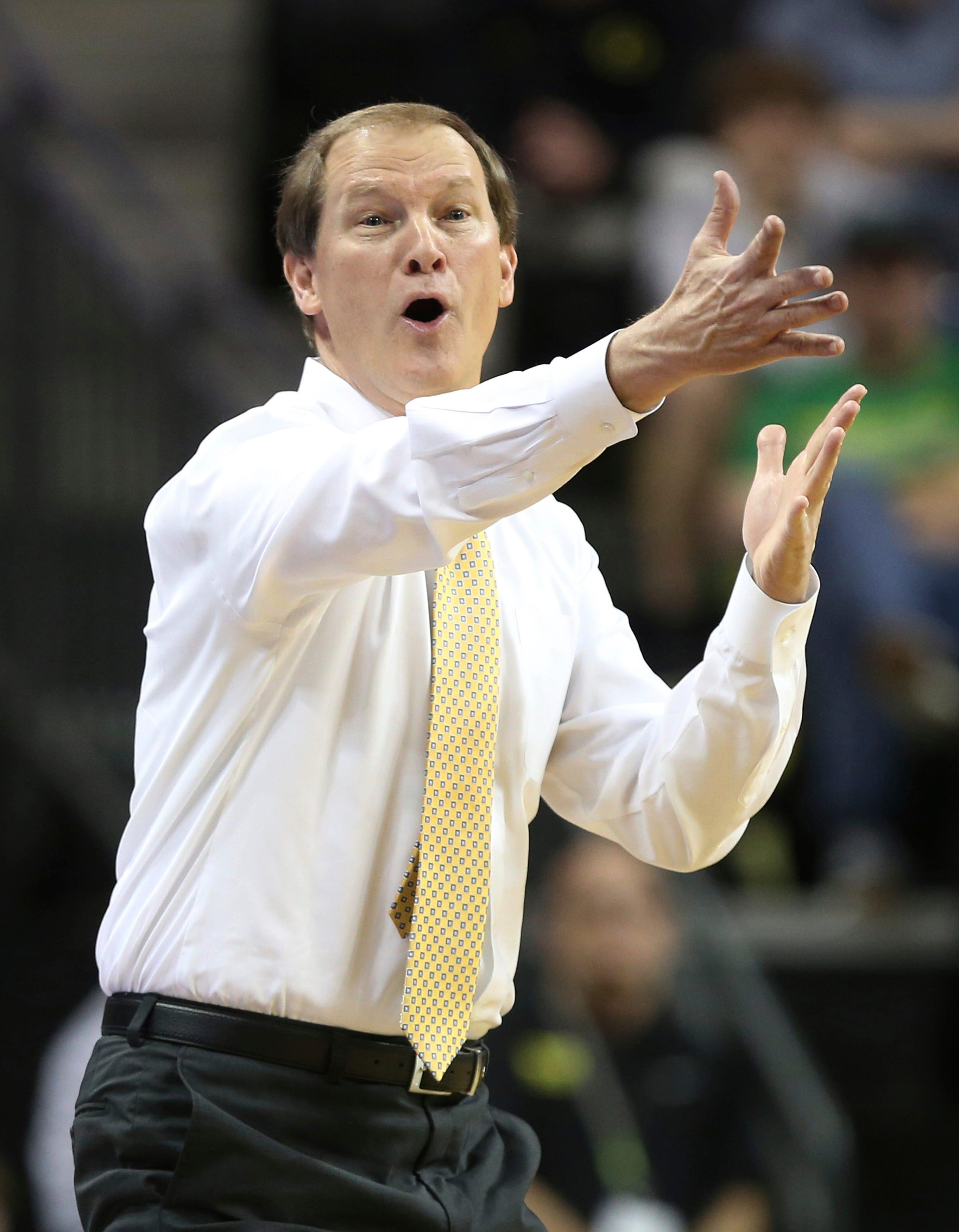 Oregon head basketball coach Dana Altman during an NCAA college basketball game, Nov. 17, 2019.
