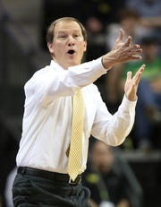Oregon head basketball coach Dana Altman during an NCAA college basketball game, Nov. 17, 2019.
