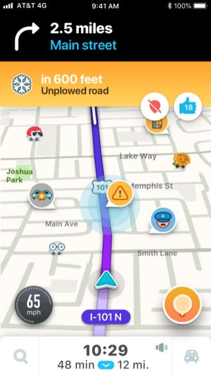 Waze allows you to report unplowed roads and unsafe driving conditions.