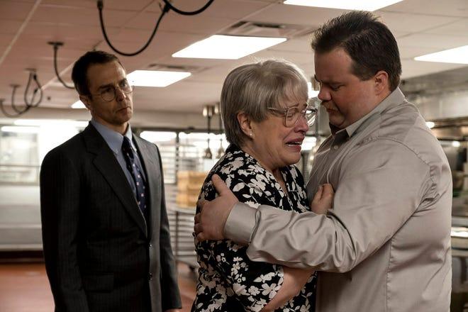 "Sam Rockwell stars as lawyer Watson Bryant, Kathy Bates as mother Bobi Jewell and Paul Walter Hauser as ""Richard Jewell."""