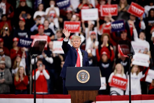President Donald Trump campaigns  in Hershey, Pennsylvania, on Dec. 10, 2019.