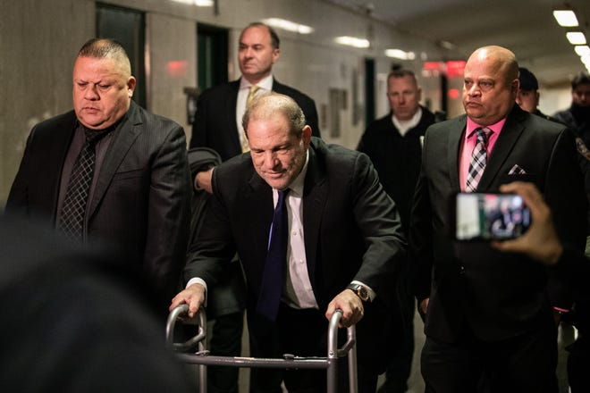 Harvey Weinstein arrives for a bail hearing using a walker on Dec. 11, 2019 in New York City.