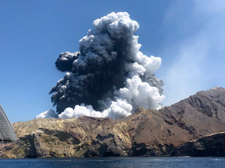 In this Monday, Dec. 9, 2019, file photo provided by Lillani Hopkins, shows the eruption of the volcano on White Island off the coast of Whakatane, New Zealand.