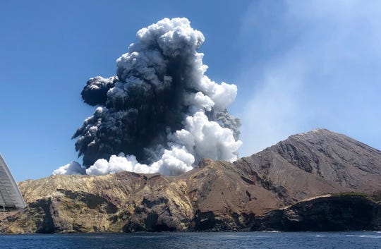 This Dec. 9, 2019, file photo provided by Lillani Hopkins, shows the eruption of the volcano on White Island off the coast of Whakatane, New Zealand.