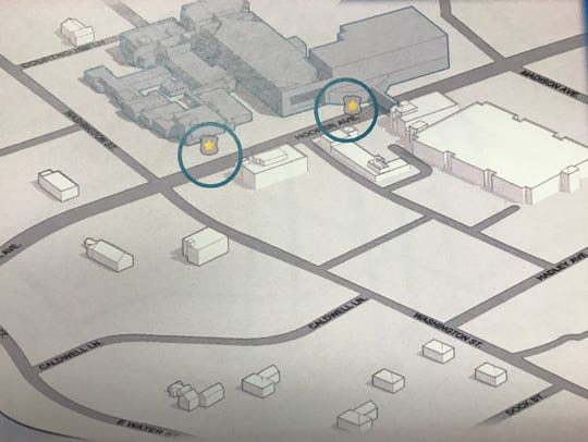 An architectural illustration shows where the Ocean County Justice Complex in downtown Toms River would be expanded (upper right) and the location of the only two public entrances that would be made accessible after the addition opened.