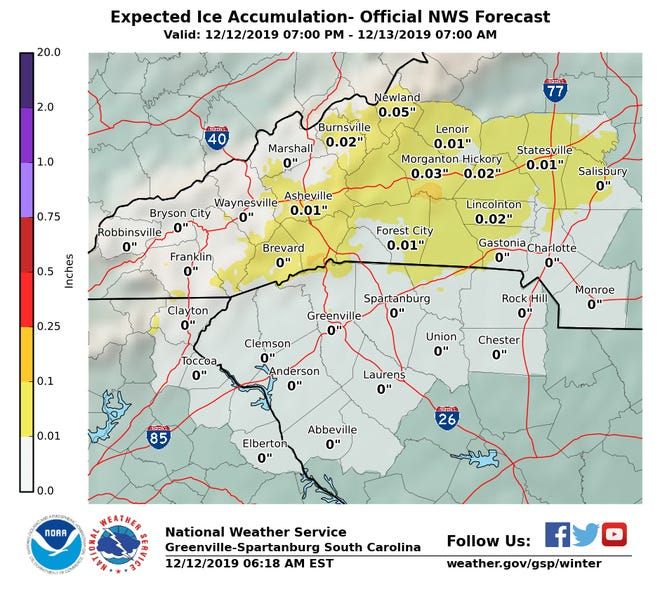 Expected Ice Accumulation for Dec. 12-13