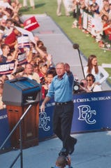 President George W. Bush speaks at Battle Creek's C.O. Brown Stadium during a campaign stop in 2004.