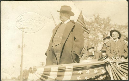 A postcard showing former President Teddy Roosevelt speaking in Battle Creek in 1916.