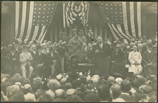 President William Howard Taft visited Battle Creek on Sept. 21, 1911. Seated to the right of Taft are C.W. Post and Dr. John Harvey Kellogg.