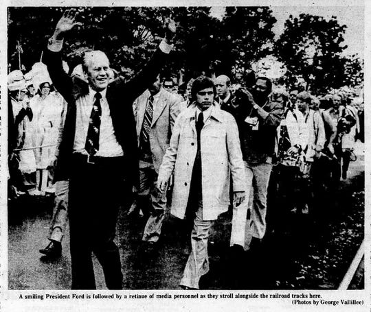 President Gerald R. Ford in Battle Creek as part of a whistle-stop tour on May, 1976.