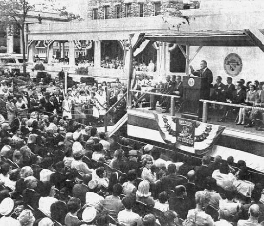 President Lyndon B. Johnson gives a speech during the centennial celebration of the Battle Creek Santarium on Sept. 5, 1966, in Battle Creek, Michigan.