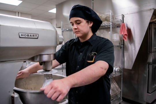 Union City senior Larkin Morgan attends class inside the culinary department at the Calhoun Area Career Center (CACC) on Wednesday, Oct. 30, 2019 in Battle Creek, Mich.