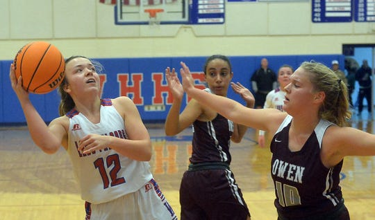 Scene from the Dec. 9 girls basketball game between Owen and West Henderson at West Henderson. Owen won 59-48.