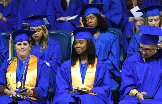 Scenes of graduates at the Eastern Florida State College 2019 Commencement at the Melbourne campus, December 12. The grads formed up in the gymnasium and the procession went to the King Center for the Performing Arts.