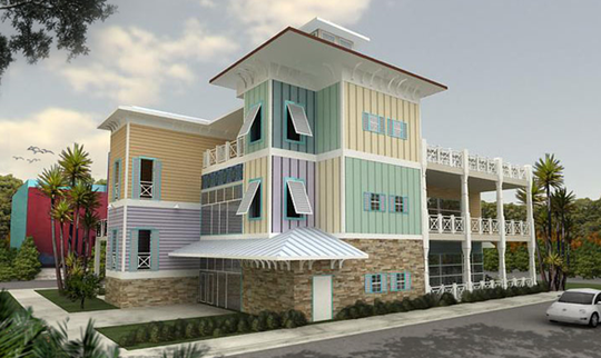 """An artist's rendering of the three-level restaurant slated for Eau Gallie's """"sharking lot."""""""