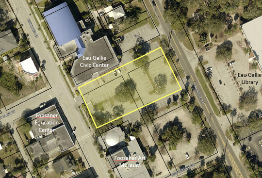 The yellow area of the Eau Gallie Civic Center parking lot depicts the Eau Gallie garage target site.