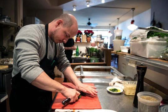 Chef and owner Joey Baldino works in his kitchen at Zeppoli in Collingswood.