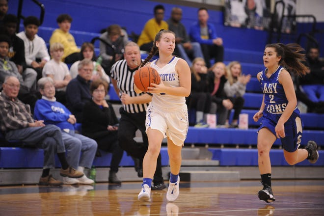 Chillicothe High School's girls basketball's Julia Hall looks to pass during a 54-47 win over Washington  on Wednesday Dec. 11, 2019 at Chillicothe High School in Chillicothe, Ohio.