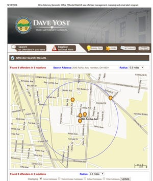 A map from Ohio Attorney General Dave Yost's website shows there are five registered sex offenders within a half-mile of a planned park site in Fairfield Township.