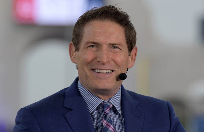 Steve Young on the ESPN Monday Night Football set at the Los Angeles Memorial Coliseum.