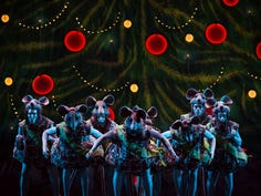 """Most of the giant mice in """"The Nutcracker Presented by Frisch's Big Boy"""" are Cincinnati Ballet company members or students at the company's ballet academy. But every year, the group includes two or three hip-hop dancers from Elementz, an """"urban arts center"""" located near Findlay Market."""