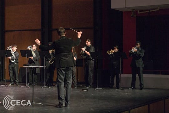APSU horn players performing at their showcase earlier this month.