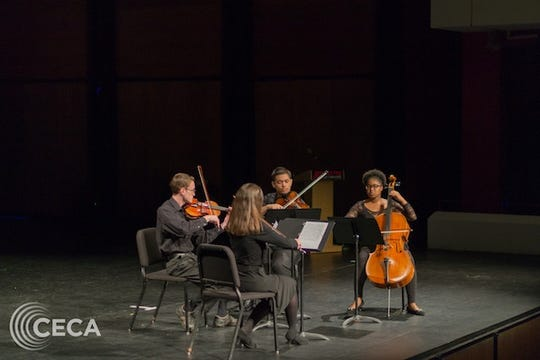 A string quartet performing in Mabry Concert Hall at APSU.