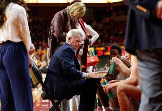 """Iowa State women's basketball head coach Bill Fennelly talks with his team during a timeout against Iowa on Dec. 11 at Hilton Coliseum in Ames. Fennelly's father, William """"Bill"""" Fennelly, died hours before the game, but after receiving some advice from his mother, Fennelly decided to coach that night."""