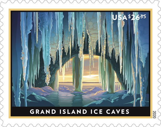 With the new Priority Mail Express stamp, the U.S. Postal Service celebrates  the winter beauty of the Grand Island Ice Caves in Lake Superior.