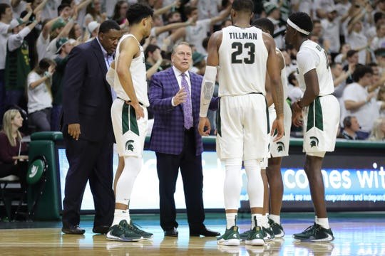 Michigan State coach Tom Izzo talks to his players during action against Rutgers, Sunday, Dec. 8, 2019 at the Breslin Center in East Lansing.