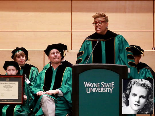 WSU Board of Governors member Kim Trent, speaks during a ceremony for civil rights activist Viola Liuzzo, at Wayne State University Law School's Patriarch Auditorium in Detroit on April 10, 2015.