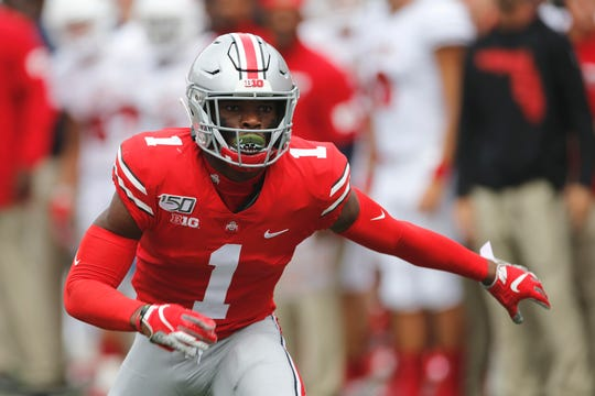 Ohio State defensive back Jeff Okudah plays against Florida Atlantic on Aug. 31, 2019.