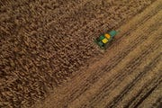 A corn harvester pushes through a field of grain corn in Warsaw, N.Y.