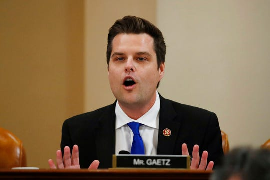 Rep. Matt Gaetz, R-Fla.,during a House Judiciary Committee markup of the articles of impeachment against President Donald Trump, on Capitol Thursday, Dec. 12, 2019.