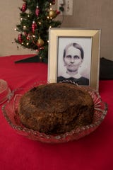 A 141-year-old fruitcake, baked by Fidelia Ford, shown in photograph, in 1878, now resides in the home of family member Dorothy Ford, in Tecumseh, Michigan.