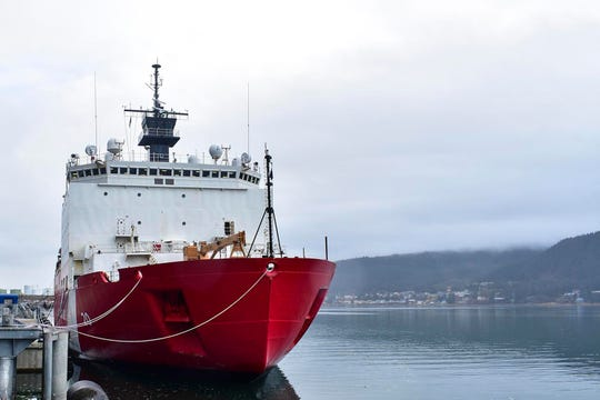 In this photo taken Sunday, Oct. 27, 2019, the USCGC Healy, lies moored to the pier in Juneau, Alaska.