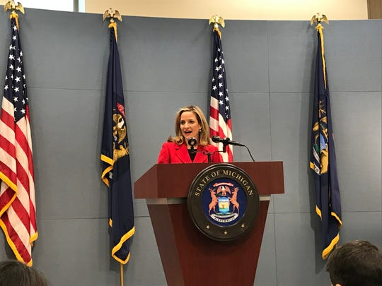 Secretary of State Jocelyn Benson announced Thursday, Dec. 12, 2019, in Lansing that she had achieved her 30-minute guarantee through appointments.