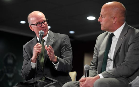 Colorado State athletic director Joe Parker answers a question during a press conference for Colorado State head coach Steve Addazio at Colorado State University in Fort Collins, Colo. on Thursday, Dec. 12, 2019.