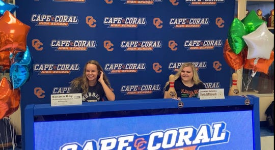 Cape Coral High School volleyball player Emma Roy signed with Webber International while bowler Jasmine Salavics inked with Florida A&M on Thursday.