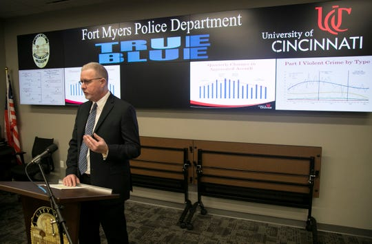 Daniel Gerard of the University of Cincinnati Institute of Crime Science talks about the data they collected and studied to analyze crime rates in Fort Myers during a press conference on Thursday, Dec. 12, 2019.