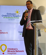 Armando Llechuo, chief administrative officer at Galisano Children's Hospital, announces the Lee Health facility is now part of the Children's Miracle Network, a major fund-raising entity.