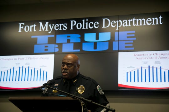 Fort Myers Police Chief Derrick Diggs speaks briefly at a press conference about the cityÕs crime rate on Thursday, Dec. 12, 2019.